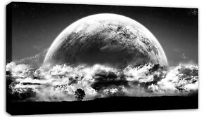 LARGE-MOON-RISE-CLOUDS-CANVAS-PICTURE-BLACK-amp-WHITE-A1