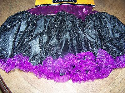 Girl's Child One Size Halloween Costume Petticoat Slip Black Purple New