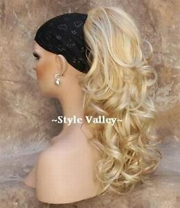 LONG-Blonde-Mix-Ponytail-Hairpiece-Extension-Claw-CLIP-in-on-Hair-Piece-Curly