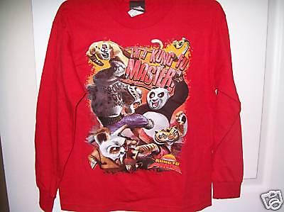 Kung Fu Foo Panda Red Long Sleeve Shirt Boys Size Xl 14/16