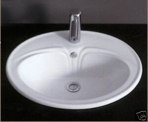 Bathroom Sink Ceramic Drop In White Round Jx 137 Ebay