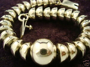 TAXCO-MEXICAN-STERLING-SILVER-BEADED-BEAD-BRACELET-MEXICO