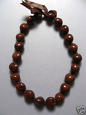 Hawaiian Brown Kukui Nut Lei Chocker Boho Bead Necklace