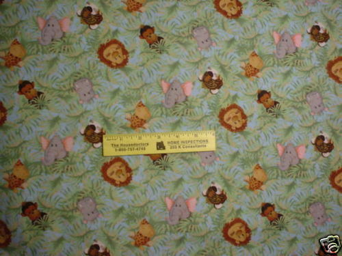 Jungle Babies - Animals In Jungle Coordinating Flannel Fabric - Faces Bty