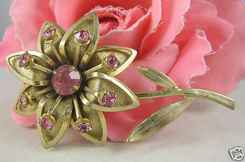 Vintage Pink Rhinestone Gold tone Flower Pin CAT RESCUE
