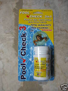 Pool Check 3 in 1, 3 way Pool/ Spa/ Hot Tub Water Test Strips
