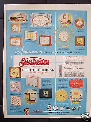 1958 Sunbeam Electric Clocks Advertisement and Perry Como TV Show