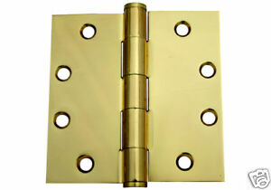 4 5 X 4 5 Polished Brass 4 1 2 Inch Commercial Straight Corner Door Hinge Ebay