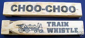 Lot-of-12-Wooden-Train-Whistle-7-034-Choo-Choo