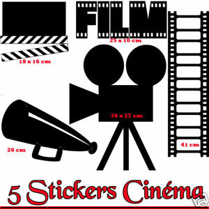 stickers mural d co cinema film movie ebay. Black Bedroom Furniture Sets. Home Design Ideas