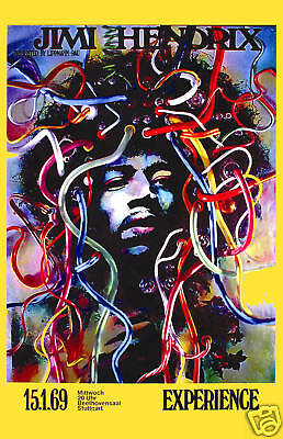 Jimi Hendrix at Stuttgart Germany Concert Promotional Poster 1969  2nd Printing