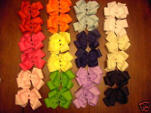 LOT-OF-24-MEDIUM-BOUTIQUE-HAIRBOWS-ON-ALLIGATOR-CLIPS