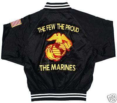 U.s.marine Corps Satin Jacket W/ Flag & Emblem