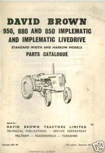 david brown tractor 850 880 950 implematic parts manual ebay rh ebay com David Brown Tractor Info David Brown 885 Tractor