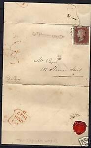 Great Britain 1847 SG8a folded letter several postmarks