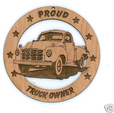 Studebaker r Pickup Red Alder Wood Ornament Laser Engraved