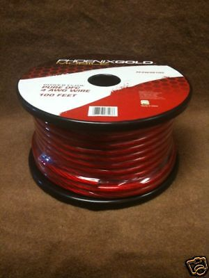 Phoenix Gold Pf2w4r100 Ruby Red 4 Awg Power Wire 100'