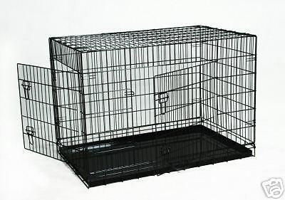"Black Large 24"" X 20"" X 23"" Pet Folding Dog Cat Crate Cage Kennel w/Metal Pan on Rummage"