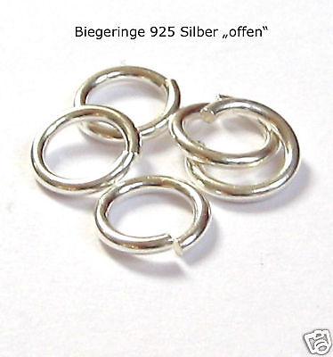 """5 Stück Biegeringe 8 mm """"offen"""" 925 Silber Ringe Ösen Schmuckzubehör"""