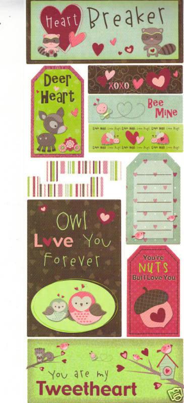 Bo Bunny Scrapbooking Cardstock Stickers Heartbreaker