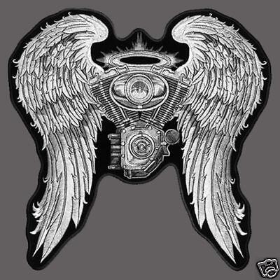 Angel Biker Wings Asphalt Angel Motorcycle Patch 5 Inch Patch