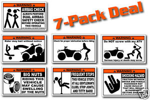 7-Pack-Funny-ATV-Warning-Stickers-for-Grizzly-4x4-Decal