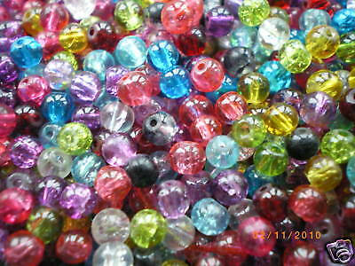 200 x 6mm Mixed Colour Crackle Beads, Glass Jewellery Making, Beading