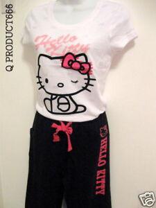 Hello-Kitty-Pajama-Set-T-shirt-amp-Long-Sleepwear-NWT-L
