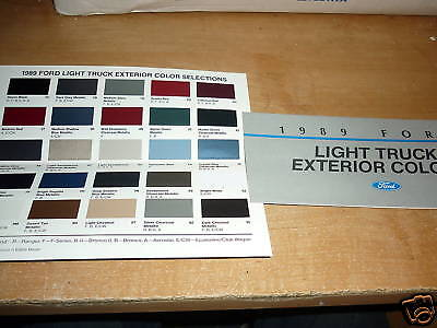 1989 Ford Bronco Ii F150 F250 F350 Color Chart Brochure