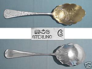 ANTIQUE-GORHAM-STERLING-BRIGHT-CUT-PRESERVE-SPOON-CHRYSANTHEMUM-NO-MONO