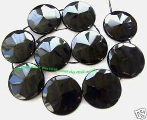 AAA-Brazil-Black-Onyx-40mm-Flat-Round-Faceted-Beads-15