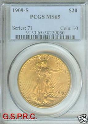 1909 S ST. GAUDENS DOUBLE EAGLE  PCGS MS65 MS 65 SAINT ONLY FEW HIGHER