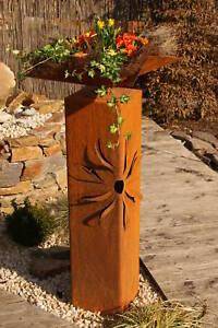 Säule Sonne 3D Edelrost Deko Garten Skulptur Rost Stele
