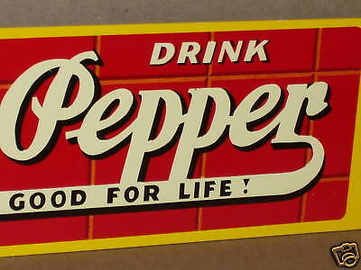 """DR PEPPERS -- GOOD FOR LIFE - Big 23x5"""" Metal -- OLD STYLE Screen Door ... Sign"""