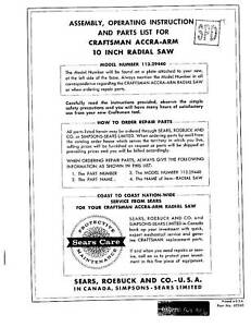 Sears-Craftsman-Radial-Arm-Saw-Manual-No-113-29440
