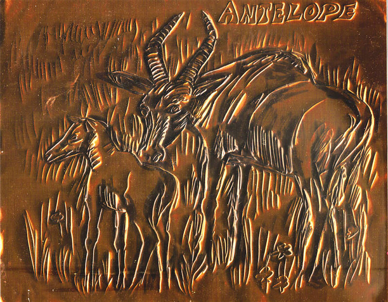 "ANTELOPE by FREEMAN EMBOSSED COPPER FOIL 8"" X 10"""