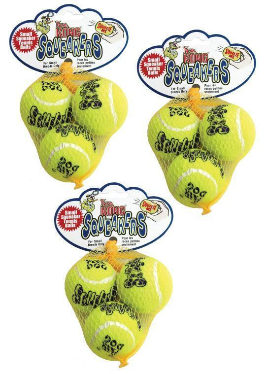 9 X-small Kong Airdog Squeaker Tennis Balls 1.5 - Bulk Petite Little Dog Toys