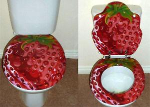 Image is loading Designer-Novelty-Printed-Toilet-Seat-Strawberry-Design & Designer Novelty Printed Toilet Seat -Strawberry Design | eBay