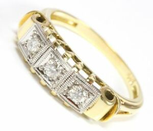 14kt-585-Damen-Brillant-Gold-Ring-Brillantring-Brilliant-Brillanten-ANTIK