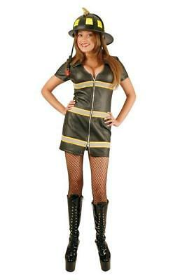 BLACK FAUX LEATHER DOUBLE ZIP FIRE FOX HALLOWEEN COSTUME ADULT SIZE SMALL - Black Fox Kostüm