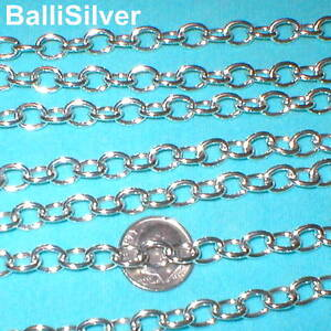 2-ft-BULK-Sterling-Silver-Chain-7x9mm-Hollow-OVAL-ROLO