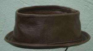 pork-pie-hat-brown-battered-leather-handmade-S-M-L-XL