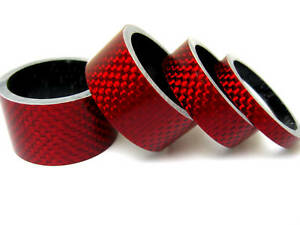 NEW-4-pcs-Bike-Bicycle-Handle-Bar-Stem-RED-Carbon-Spacer-1-1-8-034-20-15-10-5mm