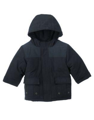 Gymboree Rock Academy Blue Lined Winter Coat 12-24