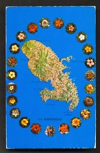 Map-postcard-Martinique-Flowers-Hisbiscus-stamp