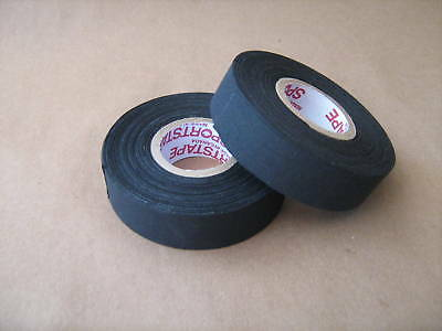 "2 Rolls of Black Cloth Hockey Stick Tape Pro Quality 1"" X 25m"