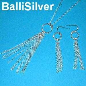 Sterling-Silver-Chain-TASSEL-Necklace-Earrings-SET
