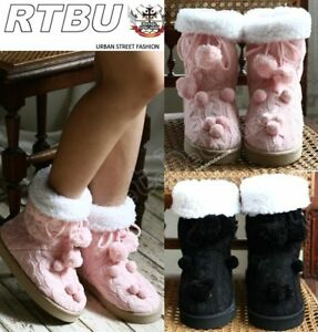 KAWAII-DECORA-Cable-Knit-POM-Boot-Wool-Lined-PINK-BLACK