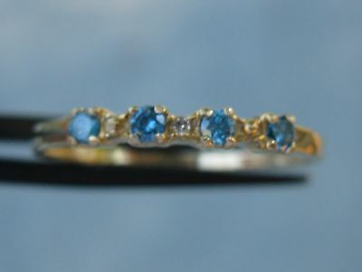 10k .23ctw Natural Sparkling White & Blue Diamond Ring