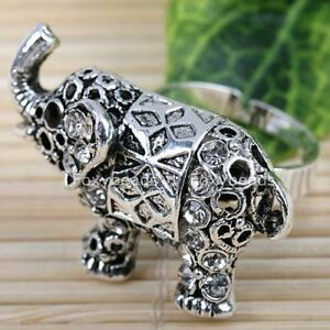 WHITE-Rhinestone-Elephant-Animal-Silvery-Cocktail-Ring